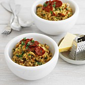Barley Risotto wtih Chorizo and Mushrooms