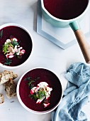 Beetroot soup with smoked trout and dill