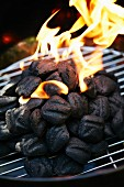 Burning barbecue coals