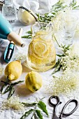 Elderflower syrup with lemon slices in a glass carafe