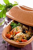 Rabbit with olives and tomatoes in a terracotta pot