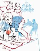 Kinder im Restaurant spielen auf gedecktem Tisch (Illustration)