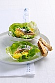 Herring with scrambled egg on lettuce leaves