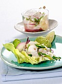 Ceviche on lettuce with an avocado cream