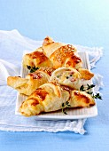 Ham and cheese croissants with sesame seeds