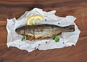 Smoked trout with paper (seen from above)