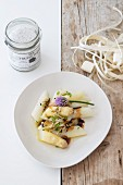 Asparagus with truffle dressing and balsamic vinegar