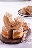 Baumkuchen (German layer cake), sliced