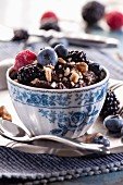Chocolate mousse with walnuts and fresh berries