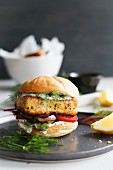 A fish burger with dill