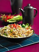 Thai noodles with mushrooms, beansprouts, chilli and spring onions