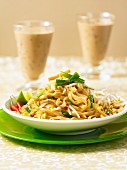 Pad Thai (Thai noodle dish) and iced coffee