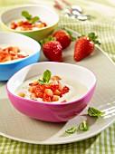 Vanilla cream dessert with strawberries