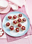 Rhubarb and raspberry mini tartlets