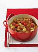 Lamb stew with potatoes and tomatoes