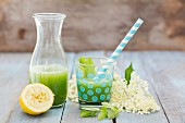Vegan cucumber lemonade with mint and elderflower syrup