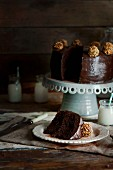 Chocolate fudge cake, sliced