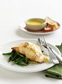 Pan-Fried Fish with Beans and Hollandaise Sauce