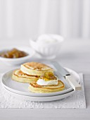 Ricotta Pancakes with Fig Jam & Cream