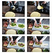 Crepes gefüllt mit Schinken und Rucola zubereiten