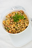 Fresh bulgur salad with flat leaf parsley