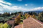 A view from the bell tower of the residential units of the monastery, Eremo di San Giorgio, Lake Garda, Italy