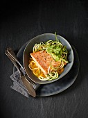 Salmon fillet on courgette spaghetti with pumpkin cream