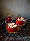 Mini crumbles with cranberries