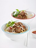 Hot Pork Meatballs with Rice Vermicelli