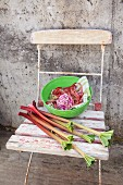 Rhubarb stalks and green bowl on garden chair