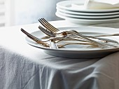 Silver forks on a plate