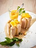 Coconut and peach tiramisu cakes