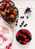 An arrangement of fresh berries and grapes