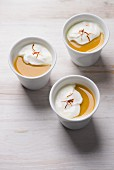 Turmeric panna cotta with coconut cream and saffron