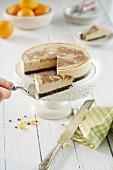 Fermented cheesecake, sliced