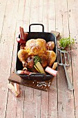 Roast chicken with rhubarb and herbs