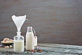Nut milk in bottles