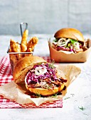 Pulled pork and slaw burger