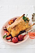 Roast duck with muscadel plums