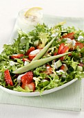 Frisee lettuce with strawberries