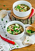 Soup with oyster mushrooms and courgette