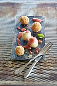 Quark dumplings with rhubarb sauce