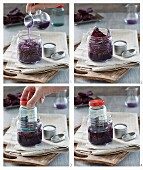 Red cabbage being pickled