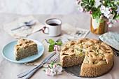 Gluten-free rhubarb cake, sliced