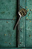 Pumpkin seeds on a spoon on a rustic surface