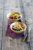 Rhubarb salad with beetroot