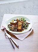 Smoked tofu with shiitake mushrooms