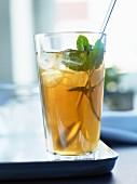 Iced tea with mint and lemon balm