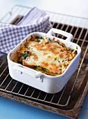Savoy cabbage lasagne in a baking dish