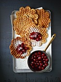 Waffles with hot cherries